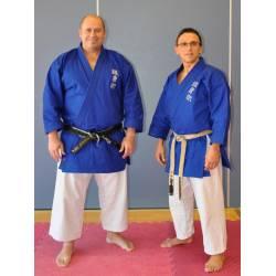 Giacca blu Kamikaze GOSHIN JUTSU con ricami petto, taglie piccole 0/130