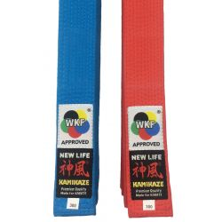 """Pack Cinturón de competición Rojo y Azúl KAMIKAZE KATA, algodón especial BST """"NEW LIFE Premium"""", aprobado WKF"""