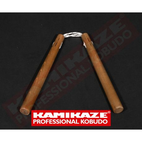Nunchaku KAMIKAZE PROFESSIONAL KOBUDO, oak, round with triple rope, hand made