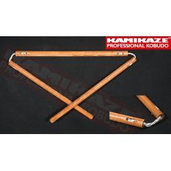 SANSETSUKON KAMIKAZE PROFESSIONAL KOBUDO, com corda tripla, artesanal, carvalho