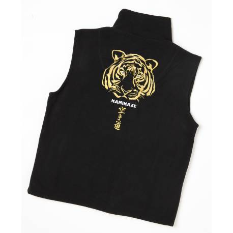 Kamikaze Fleece Vest, black, special edition embroidered KARATE-DÔ TIGER