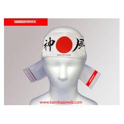 Hachimaki (fita japonesa na testa) Kamikaze - sol nascente, BRANCO, 7 x 110 cm