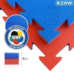 Tatami puzzle speciale Karate - Omologato WKF 100 x 100 x 2 cm, ROSSO-BLU, reversibile