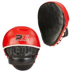 Coppia di paracolpi PX PROFESSIONAL XPERIENCE, curvi, rosso-nero-bianco, pelle